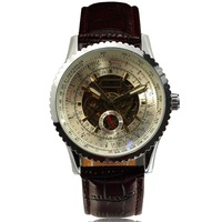 BEST WHOLESALE PRICE ROTATING BEZEL Luxury skeleton watch mens automatic watch Mechanical wristwatch Leather Band 2013