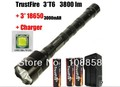 TrustFire 3T6 3800 lumens flashlight 3 x CREE XM-L 5-Mode 3 * Cree LED Flashlight Torch Lamp Torch + 3x 18650 buttery+charger