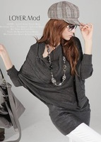 Spring Fall New Good Quality Grey Women Fashion Boho Top Slash Neck Batwing Loose Casual Sweater Pullover S-XL
