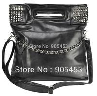 Free Shipping Classic women big room design ladies bag punk rivet women's handbag  HEC002