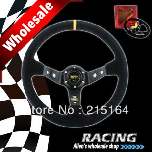 Hotsale 350mm OMP Deep Corn Suede Leather Drifting Steering Wheel