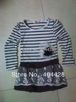 207Free shipment 3 color 5pcs/lot girls striped dresses wholesales
