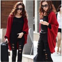 FREE SHIPPING/2014 Hot Sale Women Lady Loose Bat dolman Sleeve Knit Sweater Top Cardigan Shawl Cape, S-05