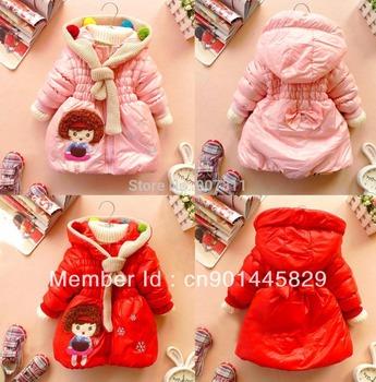 2013 free shipping retail girl's hoodies girl winter coat girls' warm jackets kids' coat winter wear