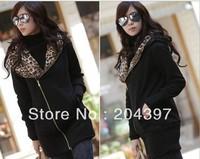 Hot Sale Women's Fashion Zipper Leopard Hooded Jacket Women Hoodie Coat Sweatshirt Warm Outerwear #1688