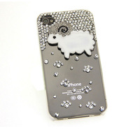 1PC Free Shipping Bulk Luxury 3D Sheep Rhinestone Crystal Diamond Case For iPhone 6 Bling Cover Accessory
