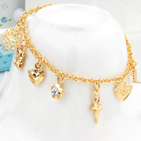 New 2013 Fashion Charm Bracelet Gifts Items 18K Real Gold\Platinum Plated Cross Heart Bracelets For Women FREE SHIPPING H5103