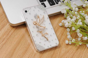 Free Shipping Women Fashion Luxury Crystal Bling Design 3d Workaman Ship Angel Girls Back Diamond Case for iphone4 4s accessory