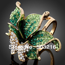 Free Shipping High Quality Green Crystal Diamond Ring Butterfly Shape Finger Ring