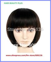 Instock cheap wig Fringe Bag Bobo Real 100% H HAIR Sleek & Straight CLORIS Mushroom Head color 1B#