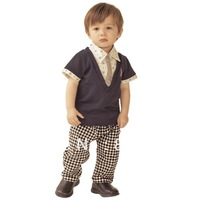 Free shipping Boy suit Children clothing short sleeve T-shirt+Plaid pants boy suits Available