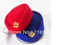 wholesale air hostess hat stewardess cap 100% wool felt with high quality and best qualtiy Red and blue color
