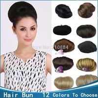 Free Shipping ! 1pcs Clip in Hair bun WIG hairpieces Synthetic Big Bride Hair Bun Hepburn's hair Q9 Xmas Gift On Sale