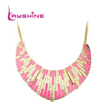 Wholesale Top Selling Alloy Pink Enamel Bib Collar Esmalte Geometric Necklace Women Bijuterias