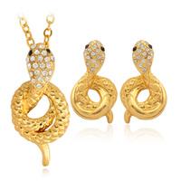 18K Gold Plated Snake Pendant Earrings Element Rhinestone Crystal  Choker Necklace Jewelry Set For Women Wholesale MGC PE3046