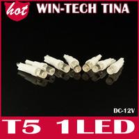 50PCS/LOT T5 Wedge W2 1LED W5W LED Dashboard Car Auto Light Bulbs 100% new brand