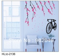 50x70cm Peach blossom and Bicycle removable wall decals stickers decoration wall stickers KW- HL3d-2136