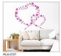 50x70cm Hot sale flowers love heart wall papers house decorations removable wall stickers romantic love poem KW- HL3d-2121