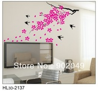 50x70cm lovely Swallow tree scenary TV background removable wall decals stickers decoration wall stickers KW- HL3d-2137