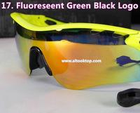 Free shipping Fluorescent Green sport polarized radarlock Men sun glasses 5 lens cycling eyewear oculos sunglasses gafas de sol