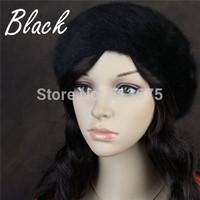 Free Shipping 2014 New luxury Angora blend Beret Hat White Black Red Winter fashion fine woman beret Angora hats