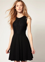 SML BLACK HOT SALE MAKER Hollow Out Bud Silk Sleeveless Perspective short Women Dresses