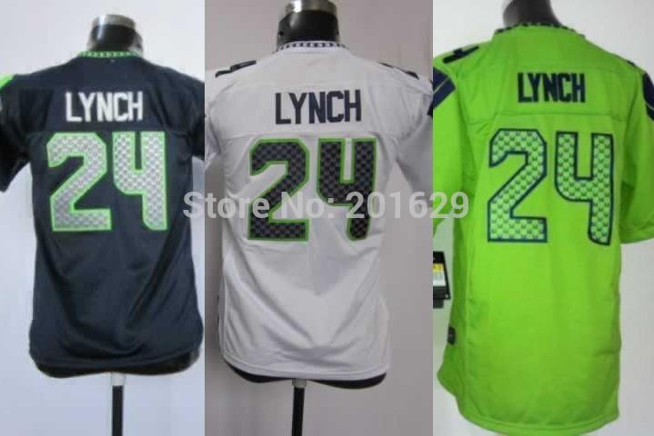 Free Shipping,Youth Football Jersey,2013-2014 New Brand Kids Sea Hawks #24 Marshawn Lynch jersey,Embroidery Logo,Fast Ship(China (Mainland))