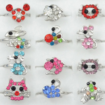 Children Finger Ring Hotsale Lot 30PCS Kid'S Girl's Party Gift Mixed Color Crystal Cute Cartoon Animal Adjustable Rings R079