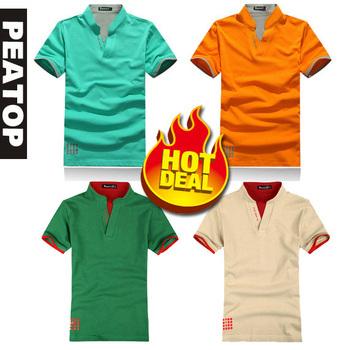 wholesaler man's short cool summer T-shirt , man short mandarin collar t shirt ,free shipping