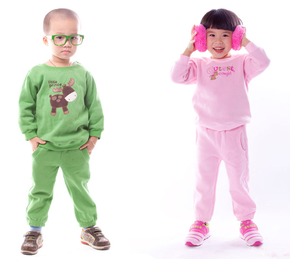 2013 baby kids boy girl sports hoodie clothing sets thickening fleece brand name plus size 100% free shipping(China (Mainland))