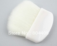 free shipping! White synthetic hair powder brush, mini rouge brush, compact blusher brush. half moon powder brush