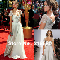 Olivia Wilde Sweetheart Neckline Beaded Cap Sleeve Cheap Custom Made Pleated Chiffon Celebrity Dresses