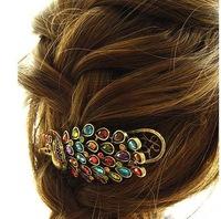 Sheegior Vintage Retro Colored Rhinestone Peacock Bronze Barrettes Fashion hair accessories Free shipping !
