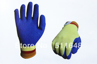 Free Shipping NO.0068 KEVLAR Cut Resistant Safety Gloves with blue latex coating