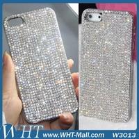 Sparkling Glitter Stylish Fashion Chrome Hard Cover Rhinestone Bling Bling Diamond Case For iPhone 5 5S 5G+1PCS Screen Protector