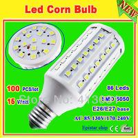 110v/220v led corn light e27 15w 86 leds smd 5050 1500 lumen led illuminant lighting warm white 360 degree free shipping