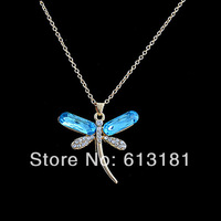 FREE Shipping,2014 Fashion Exquisite Blue Crystal Dragonfly Pendant Necklace Women Jewelry 18K Gold Plated