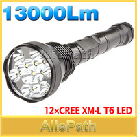Promotion! 13000Lm Super Bright 12x CREE XML T6 LED Flashlight Torch For Outdoor Sports, 5 Mode Flash Light, Free Shipping