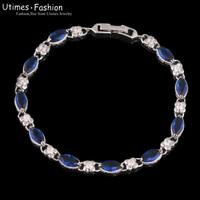 Gorgeous18k Gold Plated Blue Stone Bracelet Jewelry Women