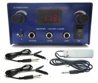 PRO Blue Digital DUAL Tattoo Power Supply W/ S S foot pedal talon clip cord