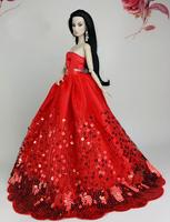 Evening Dress Red Skirt Clothes For Boneca Barbie Doll