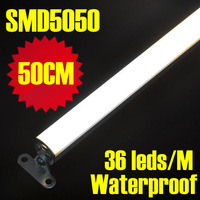 DHL/EMS shipping 20pcs/lot, 50CM/pc, 36leds 12V 5050 SMD Rigid LED Strip Aluminum Bar Light Waterproof Warm or White Color
