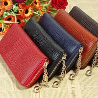 2013 New Fashion Crocodile Genuine Leather Zipper Wallets For Women Lady 5 Colors wholesale