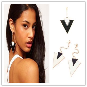 Sheegior New Classic Elegant Jewelry Big Long Enamel Triangle Gold plated women drop earrings Charming jewelry Free shipping