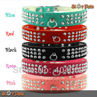 "3 Rows  1"" Width Soft PU Suede Leather 3 rows Dog Rhinestone Collars  8-18.5"" Length 5 Colors Fit  for Small Medium Breeds"