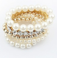 2013 Fashion Multilayer Simulated-Pearl Rhinestone Bangle Bracelet for woman Free shipping Min order $10 Mix order +gift