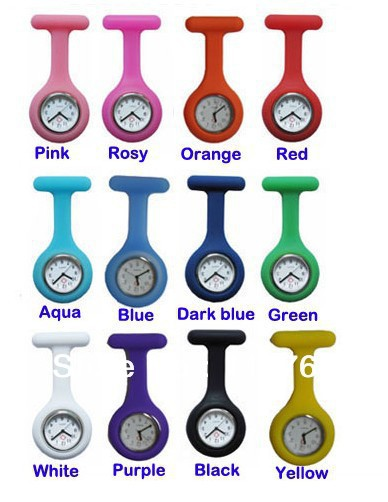 Free shipping, 12pcs/Lot Silicone Case Nurse Doctor Brooch Fob Tunic Watches(China (Mainland))