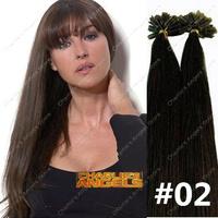 Angel Wholesale 100strands 16-26 inch Real Human Hair Keratin Hair Extension #02 Dark Brown 40g,50g,60g,70g/pack