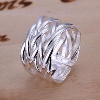 Free Shipping 925 Sterling Silver Ring Fine Fashion Weaving Net Silver Jewelry Ring Women&Men Gift Finger Rings SMTR022