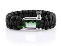 Stainless steel buckle Metal U Clasp paracord survival bracelet total length: 9-10inch 50pcs